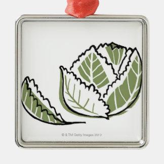 Brassica Oleracea Silver-Colored Square Decoration
