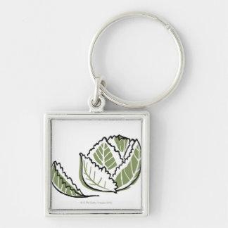 Brassica Oleracea Silver-Colored Square Key Ring