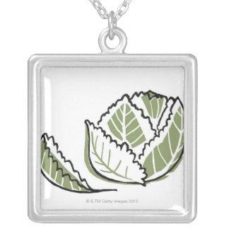 Brassica Oleracea Square Pendant Necklace