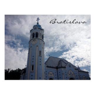 bratislava blue church postcard