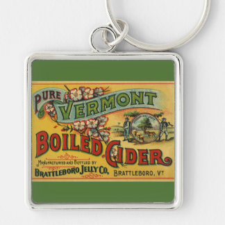 Brattleboro Jelly Boiled Cider from Vermont Silver-Colored Square Key Ring