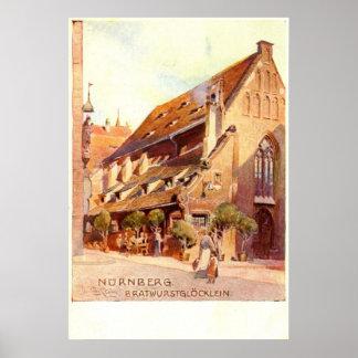 Bratwurstglöcklein, Nürnberg Germany 1910 Vintage Poster