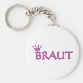Braut icon basic round button key ring
