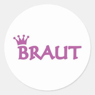 Braut icon round sticker