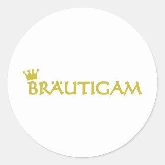 Bräutigam icon round sticker