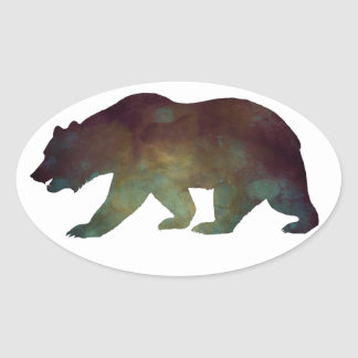 Brave as a Bear Watercolor Oval Sticker