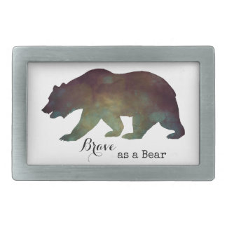 Brave as a Bear Watercolor Typography Belt Buckles