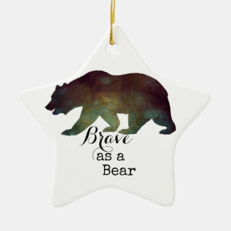 Brave as a Bear Watercolor Typography Ceramic Star Decoration