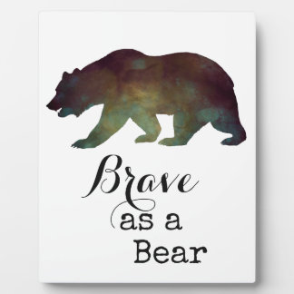 Brave as a Bear Watercolor Typography Photo Plaques