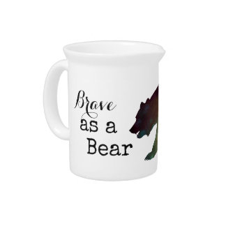 Brave as a Bear Watercolor Typography Pitcher