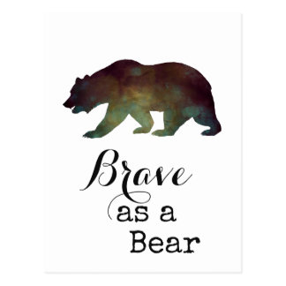 Brave as a Bear Watercolor Typography Postcard