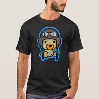 Brave cute teddy bear pilot in dark shirt