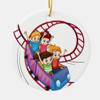 Brave kids riding in a roller coaster ride round ceramic decoration