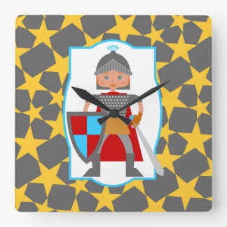 Brave Knight Boy Birthday Party Square Wall Clock