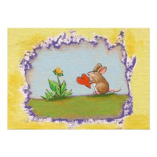 Brave Little Guy - romantic mouse rat heart flower Custom Invitation
