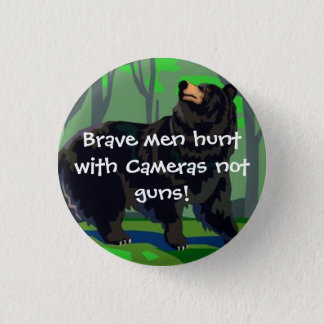 Brave men hunt with cameras 3 cm round badge