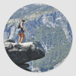 Brave Person Walking Out On The Glacier Point Ledg Round Stickers