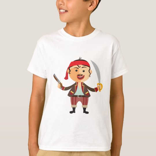 Brave pirate T-shirt cartoon for boy and girl