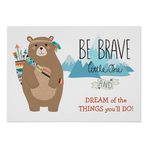 Brave Tribal Bear Cute Nursery Poster