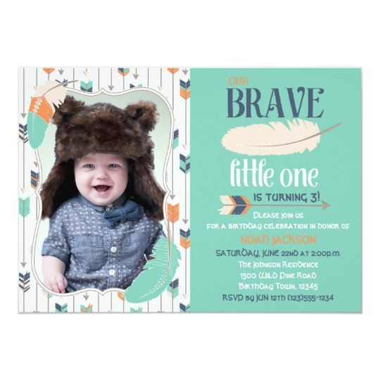 Brave Tribal Birthday Photo Invitation