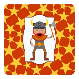 Brave viking warrior birthday party 13 cm x 13 cm square invitation card