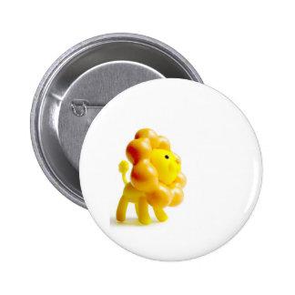 brave yellow lion 6 cm round badge