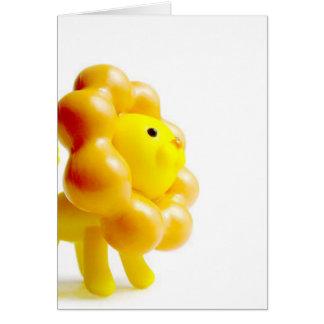 brave yellow lion greeting card