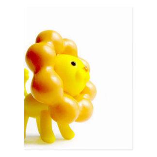 brave yellow lion postcard