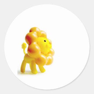 brave yellow lion round sticker