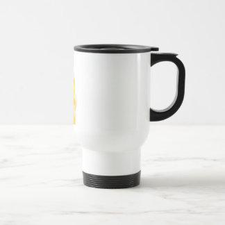 brave yellow lion stainless steel travel mug
