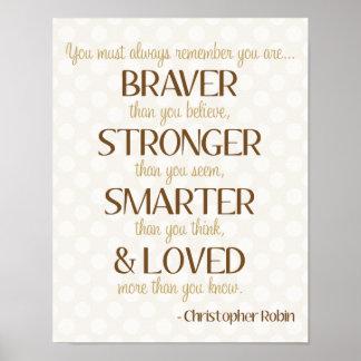 Braver, Smarter, Stronger & Loved Poem Poster