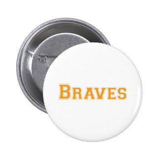 Braves square logo in orange 6 cm round badge