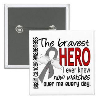 Bravest Hero I Ever Knew Brain Cancer 15 Cm Square Badge