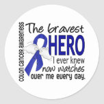 Bravest Hero I Ever Knew Colon Cancer Round Stickers