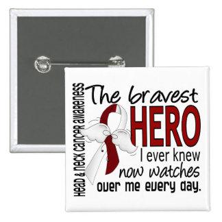 Bravest Hero I Ever Knew Head and Neck Cancer 15 Cm Square Badge