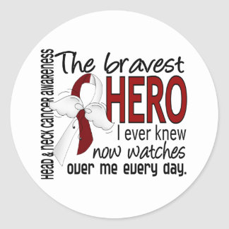 Bravest Hero I Ever Knew Head and Neck Cancer Stickers