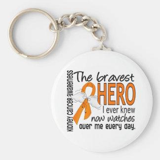Bravest Hero I Ever Knew Kidney Cancer Basic Round Button Key Ring