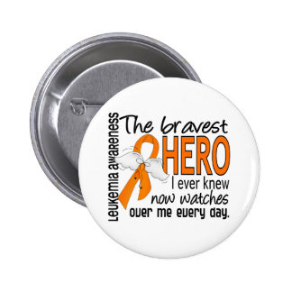Bravest Hero I Ever Knew Leukemia Pinback Button