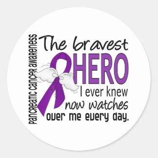 Bravest Hero I Ever Knew Pancreatic Cancer Classic Round Sticker