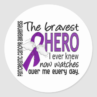 Bravest Hero I Ever Knew Pancreatic Cancer Round Sticker