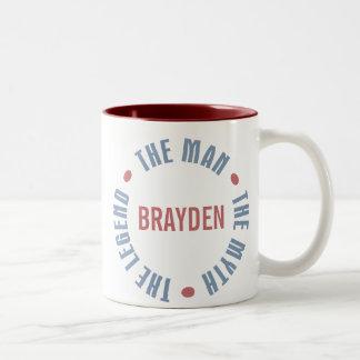 Brayden Man Myth Legend Customizable Two-Tone Coffee Mug