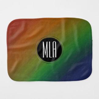 Brazen Baby   Monogram Abstract Rainbow Ombre   Burp Cloth