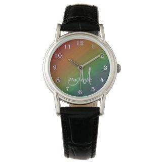 Brazen Bling | Monogram Ombre Rainbow Pride Flag Watch