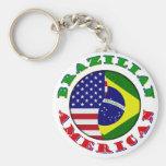 braziian american basic round button key ring