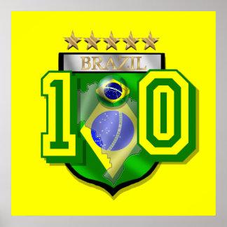Brazil 10 Brasil number 10 soccer futebol gifts Poster