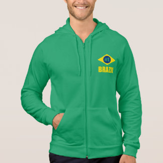 Brazil #1 Flag Yellow Text Hoodie
