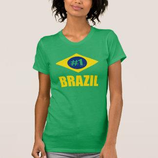 Brazil #1 Flag Yellow Text T-Shirt