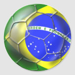 Brazil 2014 Brasil football Brazilian flag sports Round Sticker