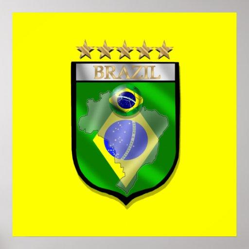 Brazil 5 star badge futebol shield gifts poster