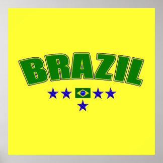 Brazil 5 Star Blue Worded logo 5 star futebol gear Print
